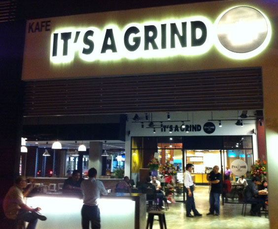 It's A Grind coffee house opens for business in Malaysia.